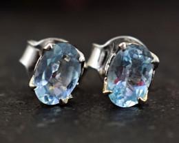 Stunning Genuine Blue Topaz Ear Studs / Earrings In Silver