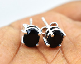 Stunning Genuine Black Spinel Ear Studs / Earrings In Silver