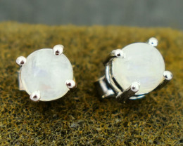Stunning Genuine Blue Flash Moonstone Ear Studs / Earrings In Silver