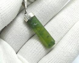 Natural Green Dots Grossular 22.30 Carats 925 Silver Pendant