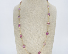 PINK SAPPHIRE NECKLACE NATURAL GEM 925 STERLING SILVER JN180