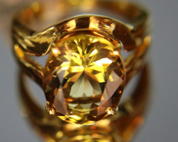 Congo Citrine 6.80ct Solid 18K Yellow Gold Solitaire Ring