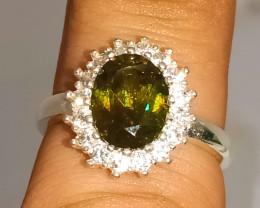 Natural Green Fire Sphene Titanite 925 Sterling Silver Ring