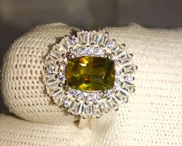 Natural Green Fire Sphene Titanite 925 Sterling Silver Ring
