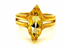 Real Cheep Good Value Scapolite 3.65ct Solid 18K Yellow Gold Solitaire Ring