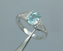 Natural Blue Zircon 18.80 Carats 925 Silver Ring