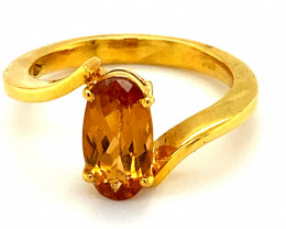 Hessonite 2.12ct Solid 18K Yellow Gold Ring