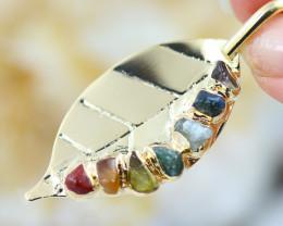Leaf Seven Chakra - natural stones - Pendant - BR 2669
