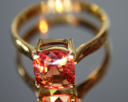 Red Mogok Spinel 2.40ct Solid 18K Yellow Gold Solitaire Ring Ring Size 7.5