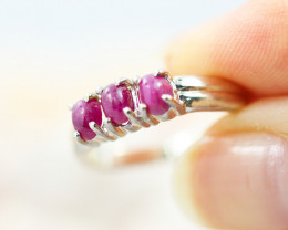 Cute Cluster Ruby in silver Ring Size 7  BR 2679