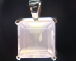 Rose Quartz 5.14ct Platinum Finish Solid 925 Sterling Silver Pendant