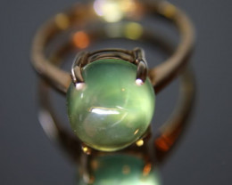 Prehnite 4.60ct Rhodium Finish Solid 925 Sterling Silver Solitaire Ring Siz