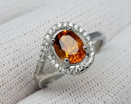 15CT MADEIRA CITRINE 925 SILVER RING