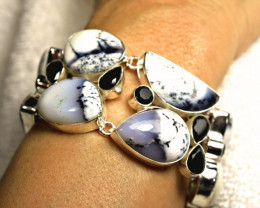 336.0 Tcw. African Dendritic Opal Sterling Silver Bracelet - Gorgeous