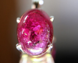 Rubellite 7.20ct Red Tourmaline Platinum Finish Solid 925 Sterling Silver P