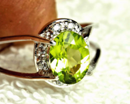 17.08 Tcw. Peridot, Sterling Silver, White Gold Plated Ring - Sz 8