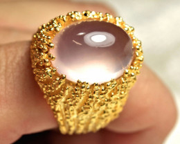 80.82 Tcw. Rose Quartz, Sterling Silver, Gold Plated Ring - Gorgeous