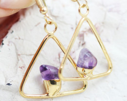Earth Design Amethyst G/P  Gemstone Earrings  BR 2683