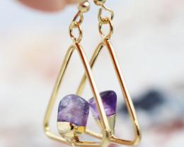 Earth Design Polished Amethyst Gemstone G/P Earrings  BR 2685