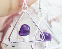 Earth Design Polished Amethyst Gemstone  Earrings  BR 2689