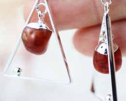 Earth Design Polished Carnelian  Gemstone  Earrings  BR 2698