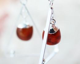 Earth Design Polished Carnelian  Gemstone  Earrings  BR 2699