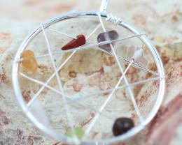 Seven Chakra - natural stones - Dream Catcher  pendant BR 2711