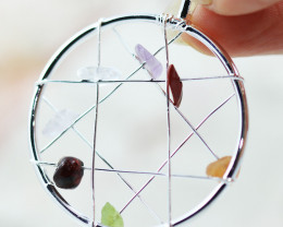Seven Chakra - natural stones - Dream Catcher  pendant BR 2713