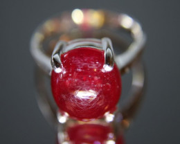Ruby 4.32ct Platinum Finish Solid 925 Sterling Silver Solitaire Ring Size 7