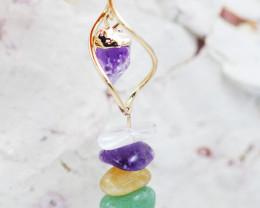 Amethyst Point n  Gemstones Swirl  pendant  BR 2727