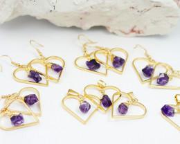 Four sets Amethyst G/P  Earrings  n  Pendant   BR 2734