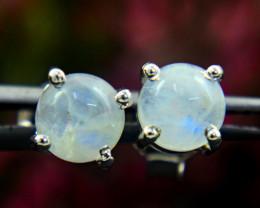 Stunning Genuine Blue Flash Moonstone Ear Studs / Earrings In Silver