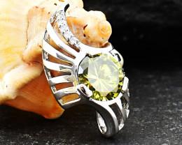 Stunning Genuine Lemon Topaz Pendant In Silver