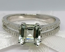 Prasiolite and Diamond Ring 1.80 TCW