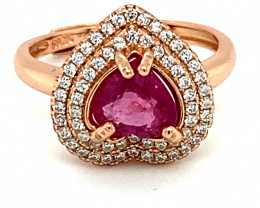 Rubellite .90ct Rose Gold Finish Solid 925 Sterling Ring Heart Size 6