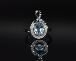 EXCLUSIVE RING Made with Genuine BLUE TOPAZ  and Sterling Silver GR822