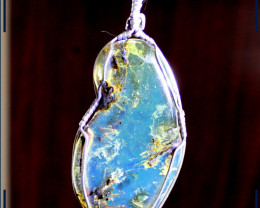 Handcrafted Dominican Natural Clear Sky Blue Amber .925 Sterling Silver Spe