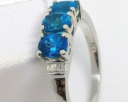 Neon Apatite and Diamond Ring 0.94 TCW