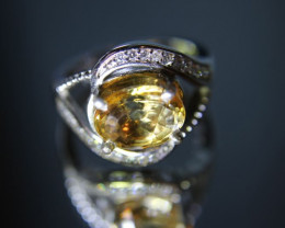 Citrine 2.05ct Platinum Finish Solid 925 Sterling Silver Ring Size 6.75