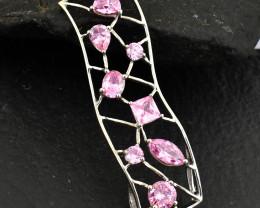 Stunning Genuine Pink Zircona Pendant  In Silver