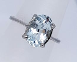 Natural Aquamarine Ring 925 Sterling Silver Ring (NJT39)