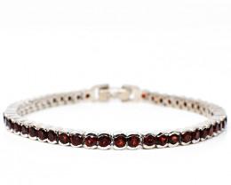 Stunning Genuine Red Garnet Bracelet In Silver