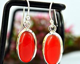 Stunning Genuine Orange Carnelian Earrings In Silver