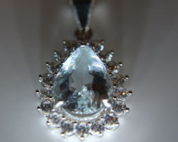 Aquamarine 2.30ct White Gold Finish Solid 925 Sterling Silver Pendant, Natu