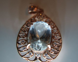 Aquamarine 7.65ct Rose Gold Finish Solid 925 Sterling Silver Pendant