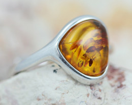 Baltic AmberRing  trillion shape ,direct from Poland AM1315
