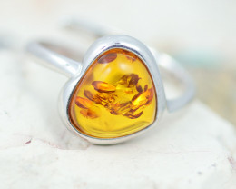 Baltic AmberRing  trillion shape ,direct from Poland AM1317