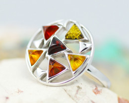 Baltic AmberRing Round multi   ,direct from Poland AM1335