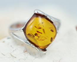 Baltic Amber Ring Sq  flow ,direct from Poland AM1341