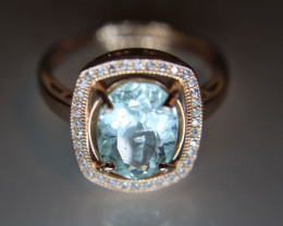 Aquamarine 2.55ct Rose Gold Finish Solid 925 Sterling Silver Ring Size 8